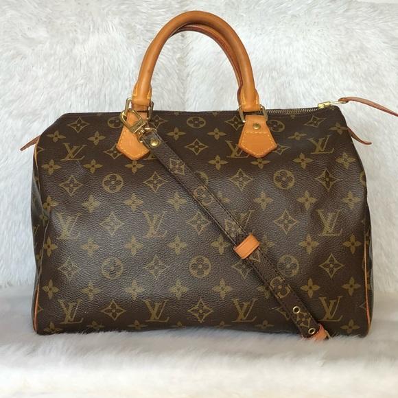 d8f4cac928b4 💯Louis Vuitton Speedy 30 Monogram Satchel + Strap.  M 5ac2eafacaab4496c8ae72bc